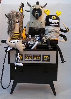 The Furry Mayhem (with their customised Chest of drawers /Amp) by Felt Mistress, via Flickr