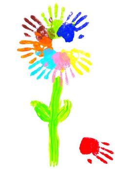 flower hand paint.. I must let my 2-3 year old class do this!!! Do not steal my plan, Crystal!!! :)