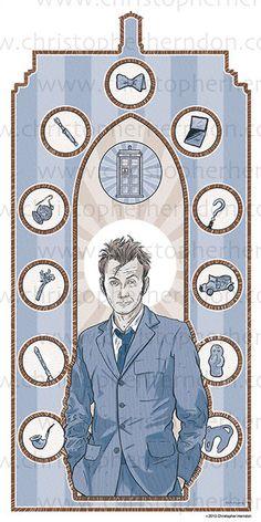Saint Tennant of Who Screen Print 11x17 Print by ChrisHerndonArt,on Etsy.com $25 Christopher Herndon Artwork Dr Who February 2015