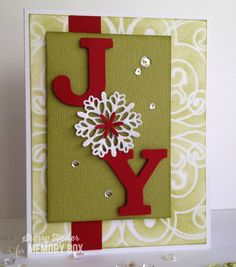 Good Morning, everyone. I hope you've been enjoying this blog blitz week with all of the wonderful cards showcasing the latest Memory Box release! My card today features the Snowflake Joy die. There are lots of ways to use this die, and because it's nice and large, you can always substitute a variety of things for the