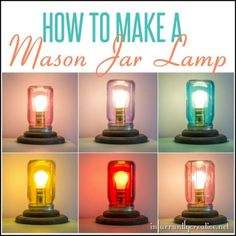 DIY Lighting Ideas | Love mason jar projects? This tutorial shows how to make a mason jar lamp. You can even change out the colored mason jar for a whole new ambiance!