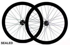 Fixie-Single-Speed-Road-Bike-Track-Wheel-Wheelset-50mm-Deep-V-Sealed-Black