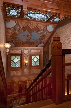 McDonald Mansion Upper Stair Hall - the glass was a collaboration with Paul Duchscherer, Steve Rynerson and Ted Ellison.  Wallpaper by Bradbury & Bradbury.