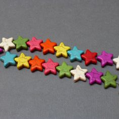 Howlite Dyed Beads. Star Beads. Rainbow Colors. Multi Color. Gemstone Beads. Half Strand. 14-15mm. 10 Beads. by trunksale on Etsy