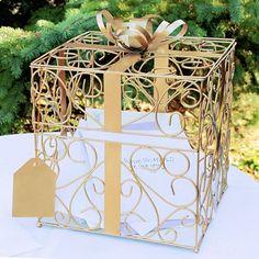wedding card box decorating ideas | Gold Matte Metal Scroll Wedding Gift Card Box