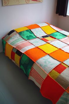patchwork blanket of recycled woolen blankets by MeS textiles