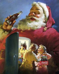 Coca-Cola Santa by Norman Rockwell The Coca Cola Santa is really the image fixed in Americans minds of what Santa is suppose to look like. always know it's xmas when the xmas coca cola ad is on! Coca Cola Santa, Coca Cola Christmas, Coca Cola Ad, Retro Christmas, Vintage Holiday, Christmas Humor, Xmas, Coke Santa, Pepsi