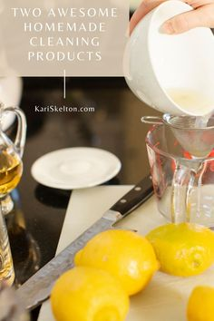 Tips from a toxic-free product expert on how to make two awesome homemade cleaning products. Super easy and they smell great! Homemade Cleaning Products, Cleaning Recipes, Orange Essential Oil, Lemon Essential Oils, Fruit Veggie Wash, Small Bottles, Fresh Lemon Juice, Lemon Grass, Apple Cider