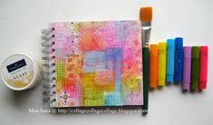 LOVE IT!  Glue squares and strips of patterned paper, glaze over it, paint brights over that.