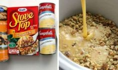 DUMP 4 INGREDIENTS INTO A SLOW COOKER. END RESULT IS A HEARTY, TASTY CHICKEN AND STUFFING Slow Cooked Meals, Crock Pot Slow Cooker, Crock Pot Cooking, Slow Cooker Chicken, Cooked Chicken, Moist Chicken, Crockpot Chicken And Stuffing, Stove Top Chicken, Creamy Chicken