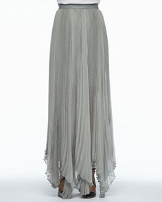 Ava Leather-Waist Pleated Maxi Skirt by Alice + Olivia at Neiman Marcus $440
