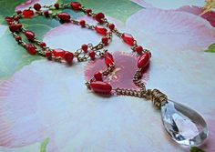 Boho style Victorian necklace Vintage crystal necklace Gorgeous Red necklace Statement necklace One of a kind Red Necklace, Crystal Necklace, Faceted Crystal, Crystal Pendant, Wire Wrapping Crystals, Beautiful Earrings, Boho Style, Boho Fashion, Glass Beads