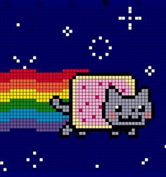 nyan cat pattern. There is one square that is blue but should be grey (underneath the right  hand side pink dot.)