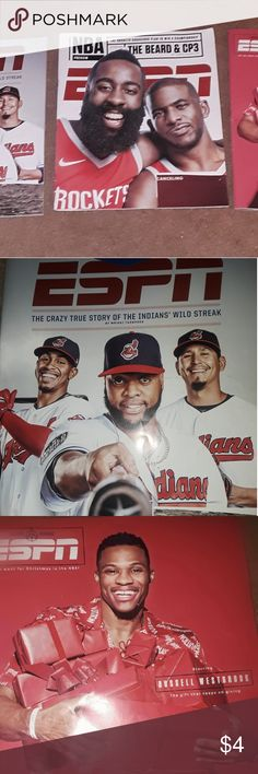 "ESPN with the NBA and MLB. The Rockets, with The Beard, and CP3. Russel Westbrook is a gift that keeps on giving. ""The crazy true story of the Indians wild streak"". ESPN Magazone Accessories"