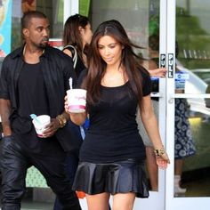 Kanye West and Kim Kardashian were spotted rocking matching leather outfits--in Hawaii--during their latest ice cream run.