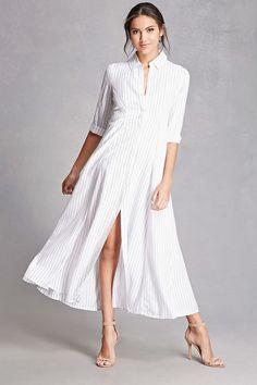 Striped Maxi Shirt Dress