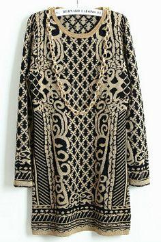 Retro Totem Pattern Sweater OASAP.com