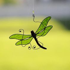 Stained glass dragonfly suncatcher, stain glass green dragonfly ornament on Etsy
