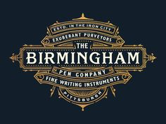 Final logo for The Birmingham Pen Company in Pittsburgh. A company who crafts and sells gorgeous fountain pens. Their packaging is currently in the final stages! Vintage Typography, Typography Letters, Typography Logo, Graphic Design Branding, Lettering Design, Hand Lettering, Logo Design Competition, Typographie Fonts, Ideas