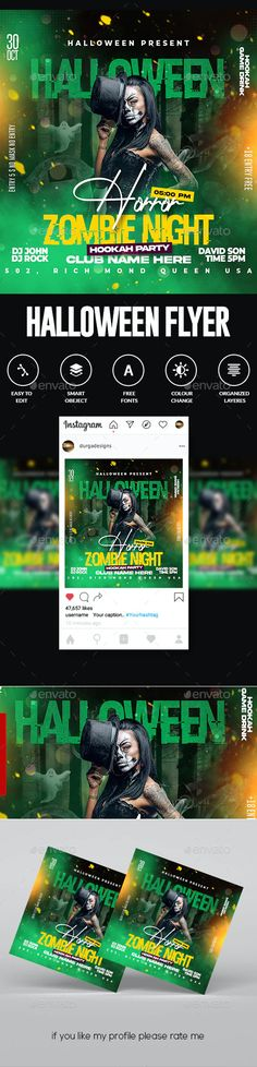 Halloween Flyer by DUrgaDesigns | GraphicRiver Halloween Flyer, Party, Instagram, House, Parties
