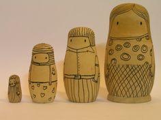 LaFamillia  wooden nesting dolls by oritM on Etsy