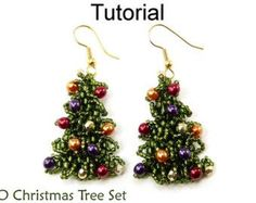Christmas Holiday Beading Tutorial  Earrings by SimpleBeadPatterns