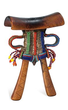 Africa | Headrest from the Pokomo people of Kenya | Wood, leather, glass beads || These types of beaded headrests were reserved for young Pokomo initiates.