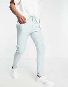 ASOS DESIGN skinny smart pants in mint and blue stripe Asos, Color Menta, Stripes Design, Blue Stripes, White Jeans, Tights, Trousers, Sweatpants, Zip