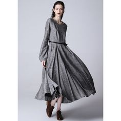 Maxi Linen Dress Gray Dress Women Long Dress (1167) ($99) ❤ liked on Polyvore featuring dresses, grey, women's clothing, gray maxi dress, linen dresses, gray dress, long linen dresses and long sleeve loose dress