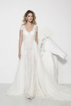 A-line wedding dress with sheer short sleeves, corset bodice, and tullle skirt overlay Popular Wedding Dresses, Top Wedding Dresses, Wedding Dress Trends, Cheap Wedding Dress, Designer Wedding Dresses, Wedding Gowns, Trendy Wedding, Elegant Wedding, Wedding Ideas