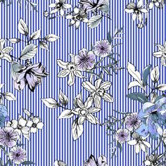 Etched Coloured Floral on Stripe by Shveta Maini Seamless Repeat  Royalty-Free Stock Pattern