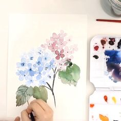 Learn how to paint a loose watercolor hydrangea on the Snowberry Design Co YouTu… [Video] Watercolor Flowers Tutorial, Watercolour Tutorials, Watercolor Trees, Watercolor Artists, Watercolor Landscape, How To Watercolor, Watercolor Tutorial Beginner, Simple Watercolor Flowers, Watercolor Sunset