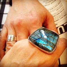 labradorite ring (hers) + ID band ring (his)