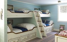 Boys Bunk Room - Design photos, ideas and inspiration. Amazing gallery of interior design and decorating ideas of Boys Bunk Room in bedrooms, boy's rooms by elite interior designers. Bunk Bed Mattress, Bunk Bed Rooms, Loft Bunk Beds, Bunk Beds Built In, Kids Bunk Beds, Kid Bedrooms, Bedroom Sets, Bunk Bed Designs, Blue Bedding