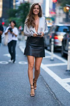 Barbara Palvin at Victoria's Secret headquarters low cut satin blouse and black leather miniskirt Sexy Outfits, Sexy Dresses, Fashion Outfits, Stylish Outfits, Barbara Palvin, Beautiful Legs, Gorgeous Women, Hot Halloween Costumes, Celebs