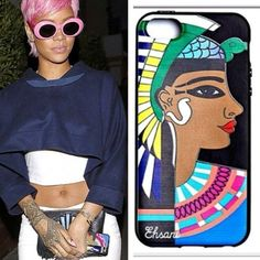 Rihanna with the Clea iPhone 5 case .. HOLLA ! www.melodyehsani.com