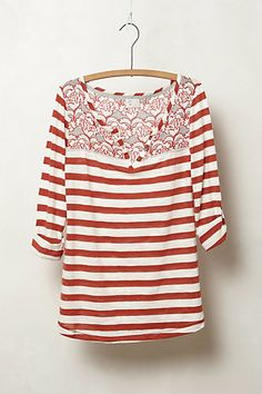 Mixed Print Henley #anthropologie