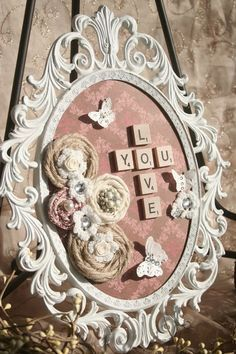 Shabby Chic Craft Ideas | ... shabby chic love you romantic cottage frame oval white metal shabby
