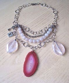 Pink Agate&Rose quartz necklace