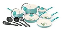 Nonstick Cookware Set Turquoise Kitchen Ceramic Soft Grip Ovensafe 14 Pc Set New #GreenPan