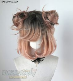 [ Kasou Wig ] cute lolita wig Uni- ♦ Coral Peach ♦ Source by canvara_art Wigs anime Kawaii Hairstyles, Pretty Hairstyles, Wig Hairstyles, Female Hairstyles, Kawaii Wigs, Lolita Hair, Cosplay Hair, Cosplay Wigs, Hair Sketch
