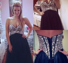 Classy Black Prom Dresses,Strapless Prom Dresses,Tulle Prom Dresses, Evening Dresses,Sparkly Prom Dresses  DESCRIPTION:  ***when you order please tell me your phone number for shipping needs .(this is very important )  1, if you need customize the dress color and size please note me your color a