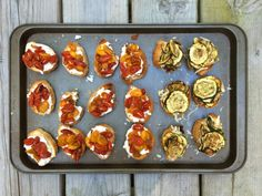 Make this summer appetizer this weekend: Roasted Tomato and Zucchini with Goat Cheese Recipe
