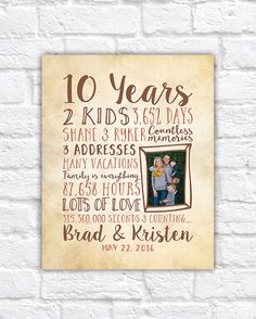 10th Anniversary Gifts Custom Family Art Photo Home Decor Wall Collage Canvas Sign Rustic Husband Wife For Her Wf92