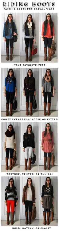 Lotsa riding boot outfits for Fall!