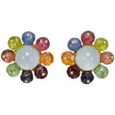 Seaman Schepps Multicolored Gemstone Gold Cluster Earclips