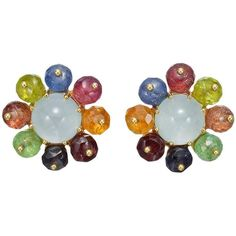 Seaman Schepps Multicolored Gemstone Gold Cluster Earclips