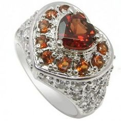 2 Carat Garnet Heart shape antique design Engagement Ring for Women
