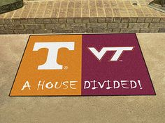 NCAA Officially licensed House Divided: Tennessee / Virginia Tech House Divided Mat Show everyone that your house is divided by die-hard fans of Virginia Tech Hokies, Nylon Carpet, House Divided, Tech House, Look Plus, Tennessee Volunteers, Time Shop, Used Vinyl, Vivid Colors