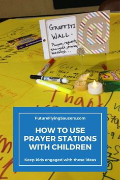 "How do you help kids to pray more than rote words or ""God bless my puppy""? Prayer Stations are helpful to show kids ways to pray and to keep them focused. Sunday School Curriculum, Sunday School Activities, Bible Activities, School Counselor, Object Lessons, Bible Lessons, Prayer Stations, Bible Crafts For Kids, Bible Teachings"